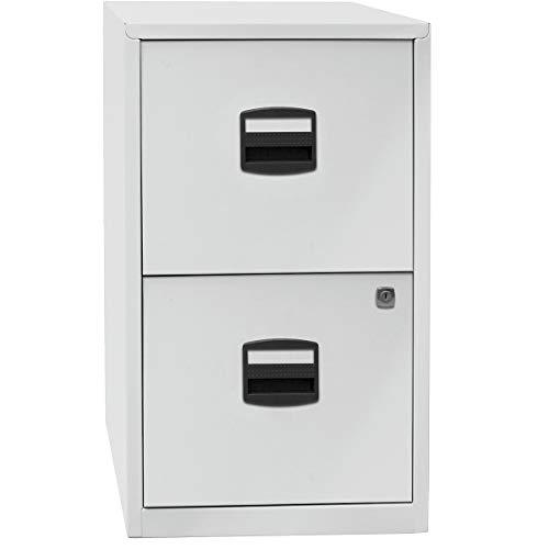 Bisley Home Hängeregistraturschrank PFA, 2 HR-Schubladen, Metall, 645 Lichtgrau, 40 x 41.3 x 67.2 cm