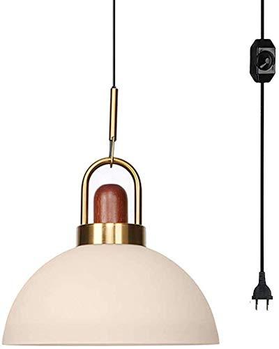 FSLiving Plug-in - Lámpara colgante con 4,5 m de cuerda transparente para restaurante, dormitorio, techo y lámpara de araña moderna, pantalla de cristal redonda en estilo minimalista para restaurante