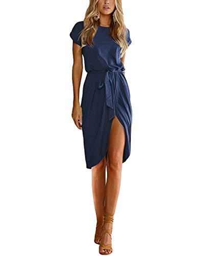 YOINS Damen Kleider Strandkleid Sommerkleid Strickkleider für Damen Maxikleid Abendkleid Jerseykleider Weihnachtskleid Rundhals mit Gürtel