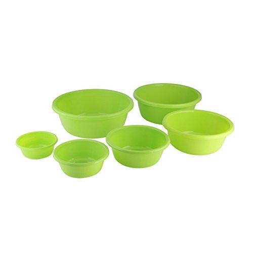 axentia Plastikschüssel 6 teilig Set-Kunststoff-Schüsseln rund-Küchenschüssel & Kochschüssel-Kunststoffschüsseln, Grün, 30 x 30 x 30 cm