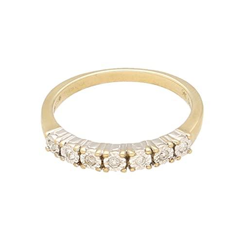 Anillo de eternidad para mujer de oro amarillo de 9 quilates de 0,07 quilates de diamantes de ilusión (tamaño K 1/2) de 2 mm de ancho | Anillo de lujo para mujer