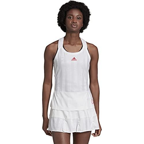 adidas - Camiseta de Tirantes para Mujer de aeroready, Mujer, Camisa, IPC17, Blanco/Escarlata, Medium