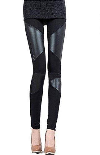 ZANZEA S-XXL Damen dehnbar Leggings Skinny Leggins PU Leder Baumwolle Legging 2 Streifen M