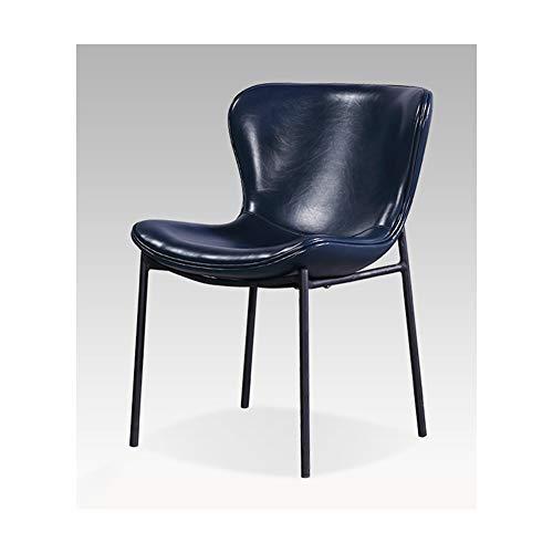 LXMBHDB Silla de oficina, patas de metal, silla de salón, silla de madera maciza, silla de cocina, sillón, silla de salón, silla de ocio, silla de maquillaje, con respaldo y reposabrazos, color azul
