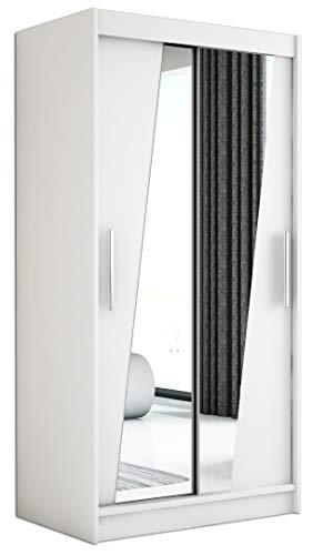 Kryspol Schwebetürenschrank Rhomb 100 cm mit Spiegel Kleiderschrank mit Kleiderstange und Einlegeboden Schlafzimmer- Wohnzimmerschrank Schiebetüren Modern Design (Weiß)