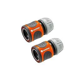 Gardena 2 Raccords d'Arrosage Rapides 13 mm (1/2″) et 15 mm (5/8″) de Raccords pour Le Début du Tuyau & Raccord d'Arrosage Aquastop 13 mm (1/2») et 15 mm (5/8″): Connecteur avec Aquastop