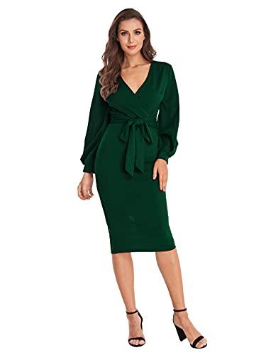 Verdusa Women's Plunging V Neck Bishop Sleeve Bodycon Belted Dress Green M