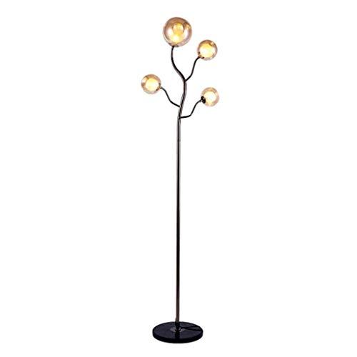 XiYou Stehlampe Baumförmige Stehlampe Glaskugel Lampenschirm Multi-Head Modern Light Luxus Stehleuchte Marmorsockel -Tall Standing Pole Light Stehende Innenbeleuchtung, Schwarz