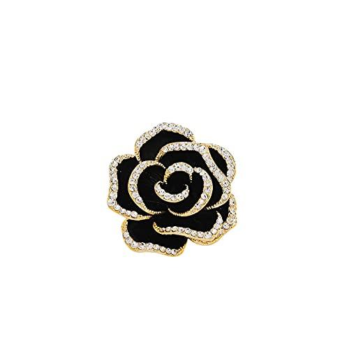 ROTOOY Broches para Mujer, broches de Diamantes de imitación de Camelia Negra...