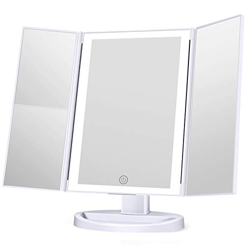 KOOLORBS 2020 Updated Version Makeup Mirror with Lights, 3 Color Lighting Vanity Mirror with 72LEDs, 1x 2X 3X Magnification, Touch Control, Portable Cosmetic Lighted Makeup Mirror