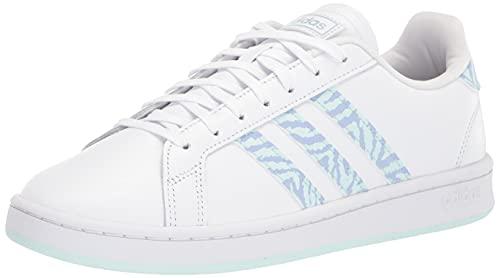 adidas Women's Grand Court Tennis Shoe, White/White/Halo Mint, 6