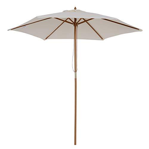 Outsunny Sombrilla Parasol para Terraza Playa Jardín Piscina Patio Camping - Color Crema - Poliéster Madera - 250x225 cm