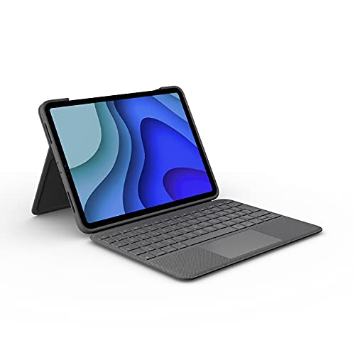 Logitech Folio Touch iPad Hülle Tastatur, Trackpad & Smart Connector für iPad Air 4. Gen (Modell: A2316, A2324, A2072, A2325) Deutsches QWERTZ Layout - Grafit