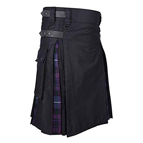 waotier Kilt Hombres Vintage Kilt Escocia Gótico Plisado Moda Kendo Falda de Mezclilla Patrón escocés Suelta Medio Faldas para Hombre