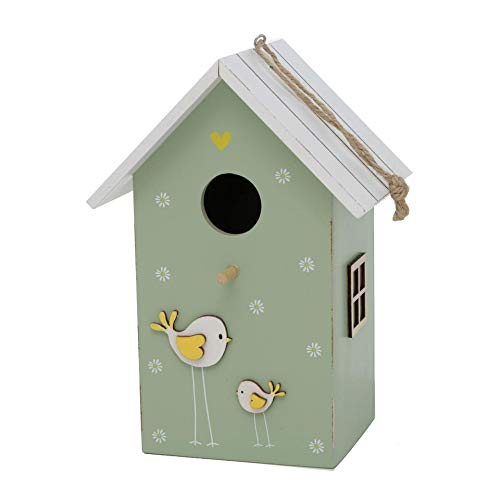 CasaJame Holz Vogelhaus für Balkon und Garten, Nistkasten, Haus für Vögel, Vogelhäuschen, grün mit Vogel Applikation und Streublümchen15x12x22cm