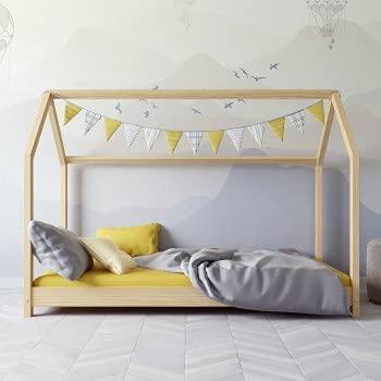 Children's Beds Home - Cama individual con forma de casa - Kofi - Tamaño 200x90, Color Natural, Colchón Ninguno