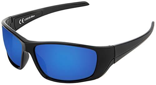 La Optica B.L.M. UV400 CAT 3 Unisex Damen Herren Sonnenbrille Leicht Sport Fahrradbrille - Schwarz (Gläser: Blau verspiegelt)