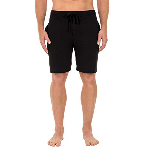 Fruit of the Loom Men's Breathable Mesh Pajama Short, Solid Black, Large
