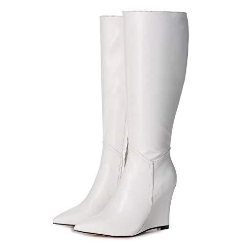 GIARO ELLA Premium Stiefel für Damen - elegante High-Heels - Kniestiefel mit hohem Absatz - Damenstiefel - Stöckelschuhe für Frauen - erhältlich in 3 Farben (Weiß, numeric_38)