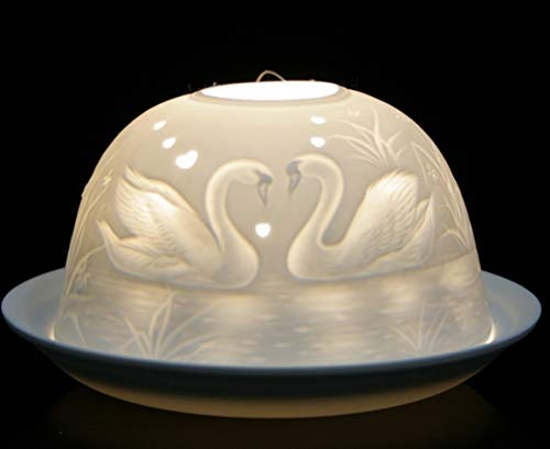 Nordic Light Shade, Swans Tealight Holder, Plate, Lace Gift Idea, Candle Accessories, Porcelain, White, One Size