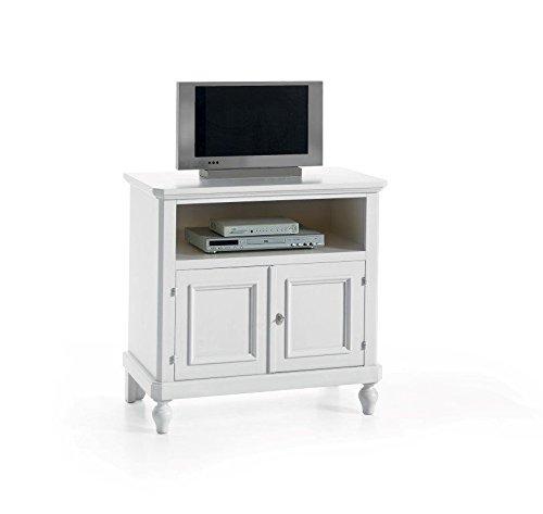 Meuble TV en bois Arte Povera avec 2 portes laquées Blanc