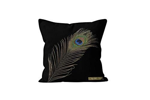 Soleil d'Ocre Pauw kussensloop, katoen, zwart, 40 x 40 cm