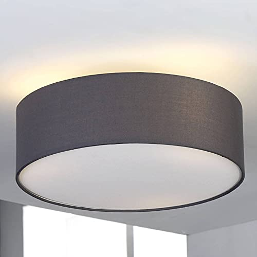 Lindby LED Textil Deckenleuchte rund 40 cm | Deckenlampe Stoff grau | 3xE27 max. 60W | ohne Leuchtmittel | LED Deckenleuchte Stoff | Wohnzimmerleuchte