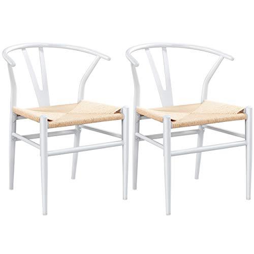 Yaheetech Set of 2 Wishbone Chair Mid-Century Metal Dining Chair Y-Shaped Backrest Hemp Seat, Black