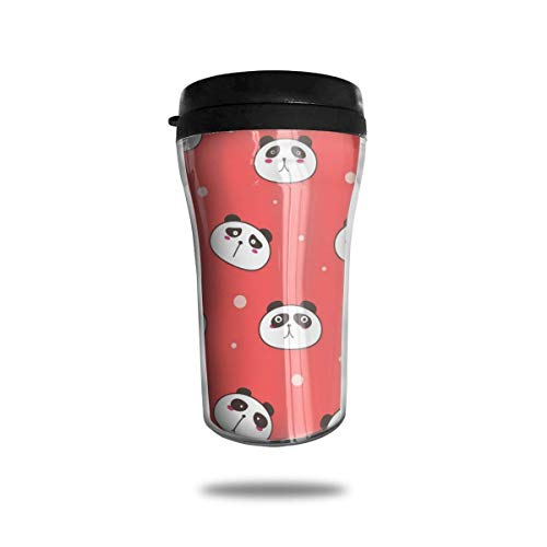 Cute Panda Pink Travel Coffee Mug 3D Printed Portable Vacuum Cup,Insulated Tea Cup Water Bottle Tumblers for Drinking with Lid 8.54 Oz (250 Ml)