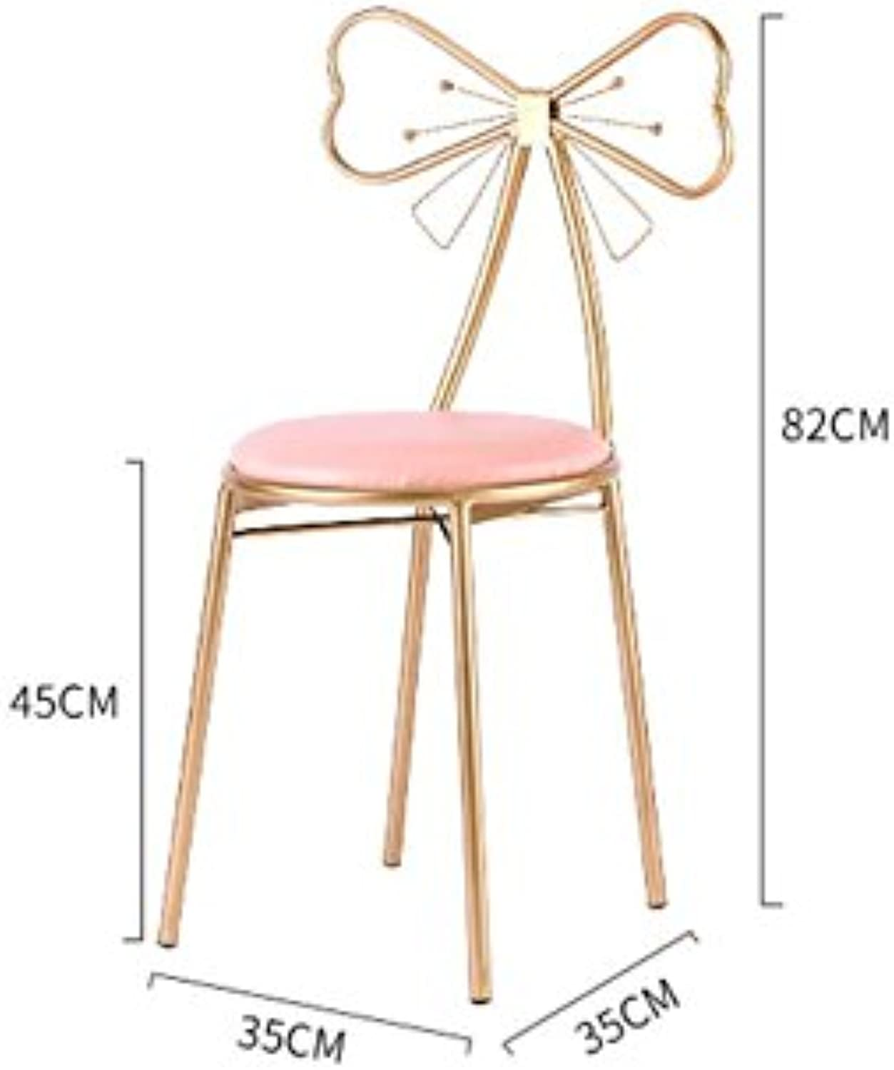 DQMS Makeup Stool, Household Bow Tie Dining Chair Bar Chair Metal Chair Bedroom Change shoes Dressing Table Chair 35  35  82CM Decorative Lounge Chair (color   B)
