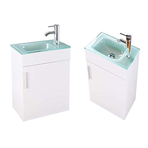 "LUCWIND Bathroom Vanity Cabinet Wall – Wooden Vanity Sink Top Glass Chrome Faucet Drain Suite Combo Floating Small Side Corner Stainless Hinge Damp Proof 18"" Single 1.5GPM Lead Free (White)"