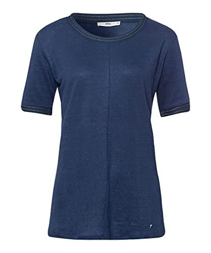 BRAX Damen Style Cathy Linen T-Shirt, Indigo, (Herstellergröße: 34)