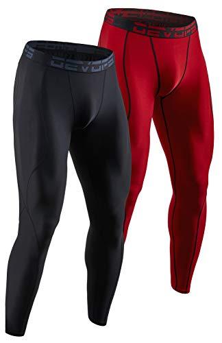 DEVOPS Men's 2 Pack Compression Cool Dry Tights Baselayer Running Active Leggings Pants (Large, Black/Red)