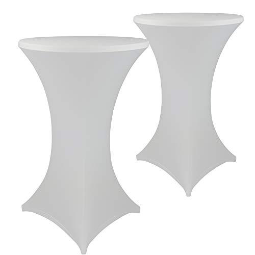 DILUMA Stehtischhussen Stretch Elastique 2er Set - elastische Premium Stretchhusse für alle gängigen Bistrotische und Stehtische, Größe:Ø 60-65 cm, Farbe:Weiß