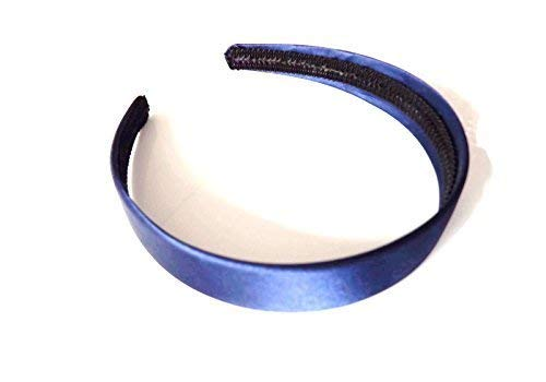 2.5 cms Wide Satin Headband Hair band Alice Band Flexible (Navy)