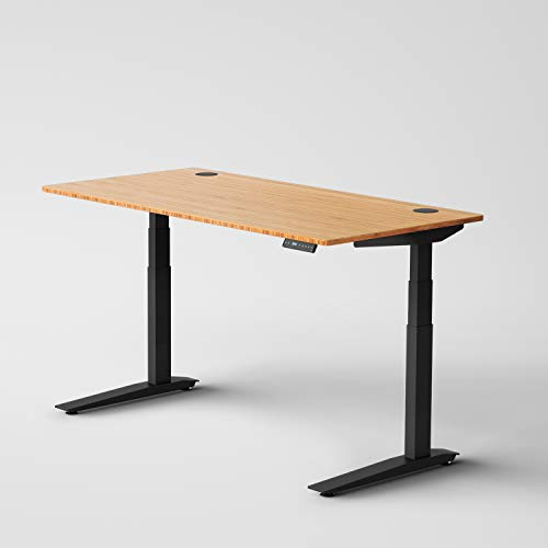 Jarvis Standing Desk Bamboo Top - Electric Adjustable Height Sit Stand Desk - 3-Stage Extended Range...