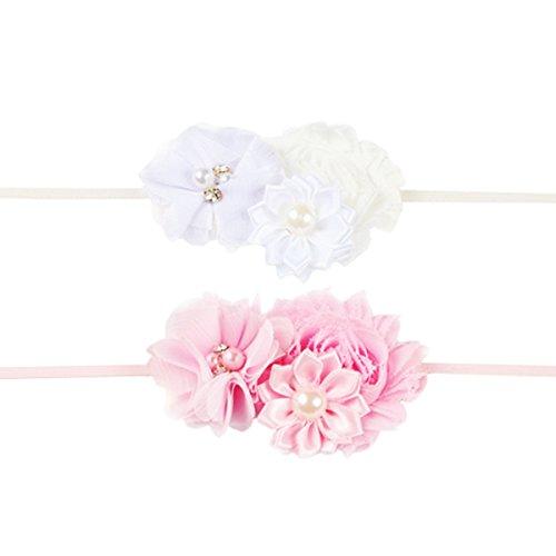 Hocaies 2 Stück Süßes Baby beautful flower headband Mädchen Kinder Prinzessin Stretch Stirnbänder Babygeschenke Taufe Geschenksets