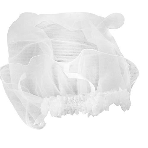 LUOSI Enfants Princesse Hairband Une Couche Tulle Voile De Mariée Fleurs Guirlande De Guirlande De Noce Bandeau Couleur Unie Perlé Tassel (Color : White)