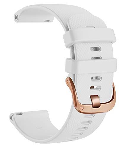 Correa de reloj deportiva de 20 mm para Vivomove 3 Wheamband, banda de reemplazo de silicona para Gear S2 Classic/Forerunner 645 reloj inteligente 1033 (Band Color : White, Size : L)