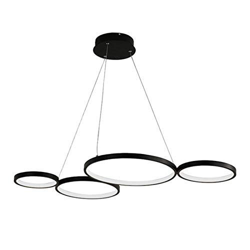 AXFALO Moderna lámpara colgante LED de diseño de 4 anillas, regulable, para comedor, altura regulable, con mando a distancia, 60 W, para mesa de comedor, color negro, de aluminio, para salón