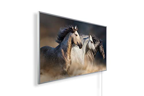 Könighaus Fern Infrarotheizung - Bildheizung in HD Qualität mit TÜV/GS - 200+ Bilder – mit Smart Home Thermostat, steuerbar mit APP für Handy- 1000 Watt (101. 3 Pferde seitlich)