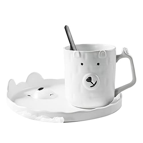 XDYNJYNL Vintage 11.83oz / 350ml Tazas de Porcelana, Conjunto de Platos, Oso ecológico Taza de café Taza Taza de Taza Taza con Mango Aislado Bebiendo tumblers de Bebida Taza Taza de Desayuno, Blanco