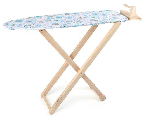 small foot 8303 Bügelbrett inkl. Bügeleisen aus Holz, mit buntem Stoffbezug und Ablagebrett, Rollenspielzeug ab 3 Jahren