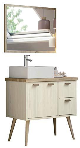 Miroytengo Mueble baño Retro con Espejo Drya Color Pino Cambrian nórdico Incluye Lavabo cerámico 80x46x93 cm