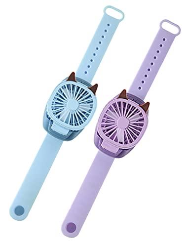 gfdfrg Mini Ventilador de Mano, Ventilador USB Recargable,Ventilador de Muñeca,Ajustable 3 Velocidad con Luz de Color Portátil Eléctrico Ventilador para Regalos para Niños (2 Paquetes)