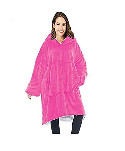 sweat à capuche sherpa surdimensionné couverture ultra en peluche doux et chaud confortable long manteau à capuchon géant épais réversible avec grande poche pour adulte homme femme vu à la télé