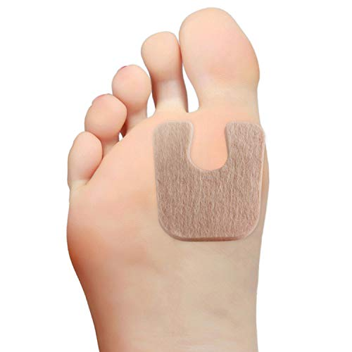 """Steins 3/16"""" Adhesive Felt Callus Pads with U-8 IPK Padding, Pre-Cut, U-Shaped, Reduces Pain and Pressure with Bunions, Calluses or Blisters, 100 Count, Tan"""