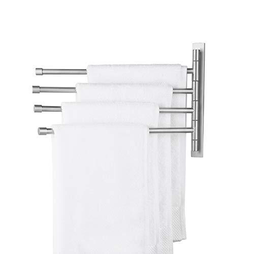 KES Handtuchhalter Schwenkbar Handtuchstange ohne Bohren Badetuchhalter Edelstahl SUS 304 Handtuch Halterung 4 Armen 180°Drehung Geschirrtuchhalter Selbstklebend Gebürstet, A2102S4DM-2