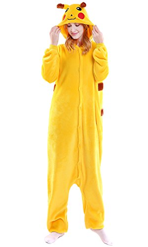 "Dolamen Adulto Unisex Kigurumi Pigiama Onesie, Donna Uomo Anime Cosplay Halloween Natale Party Costume Attrezzatura Sleepwear (Medium (61""-65""), Pikachu)"