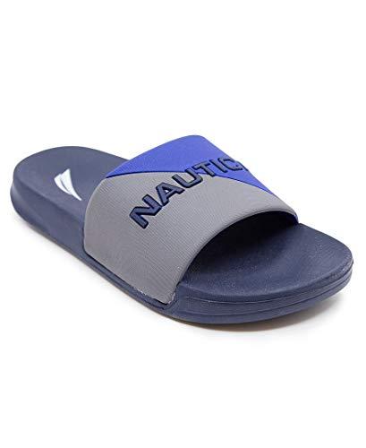 Nautica Sandália infantil infantil atlética sem cadarço – criança grande/criança pequena | meninos – meninas |, Azul (Stono-blue) cinza, 4 Big Kid